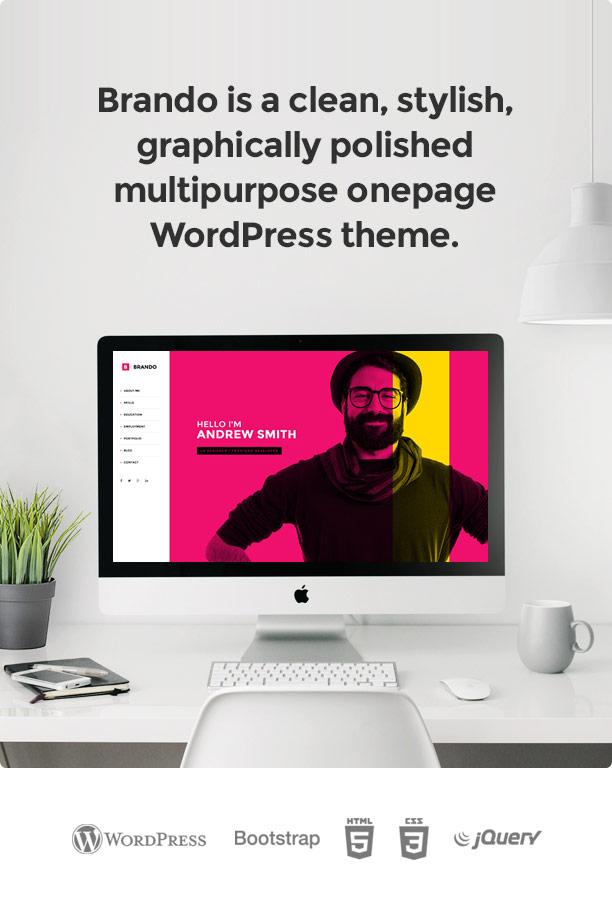 Brando Responsive and Multipurpose OnePage WordPress Theme - 7
